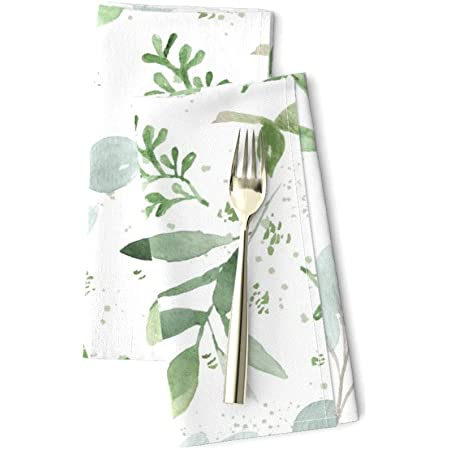 Pine Tree Christmas Tree Mono Black Cotton Dinner Napkins by Roostery Set of 2