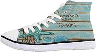 Starfish Decor Comfortable High Top Canvas Shoes,Make a Wish Upon a Starfish Inspirational Quote on Beach Grunge Artwork Decorative for Women Girls,US 5