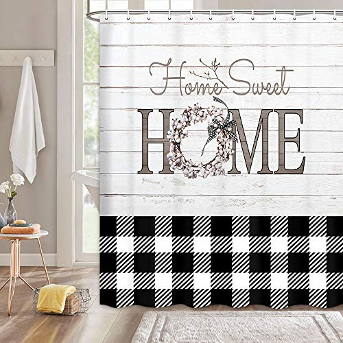 MERCHR Black White Buffalo Check Plaid Shower Curtain, Rustic Fabric Shower Curtains for Bathroom with Floral Decor on Wooden Board, Polyester Fabric Bathroom Shower Curtains with Hooks 69 X 70in
