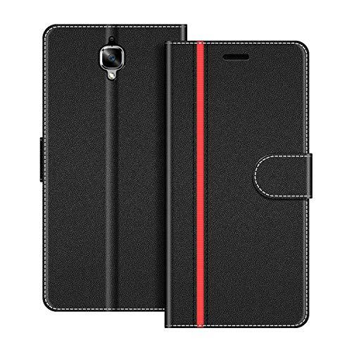 COODIO Handyhülle für OnePlus 3 Handy Hülle, OnePlus 3 Hülle Leder Handytasche für OnePlus 3 / OnePlus 3T Klapphülle Tasche, Schwarz/Rot