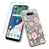 Vinve for LG K31 case, LG Phoenix 5 Case, LG Fortune 3 Case, LG K300 Case, with Screen Protector, Clear Flower Design Hard PC Back+ TPU Bumper Protective Slim Case for LG K31