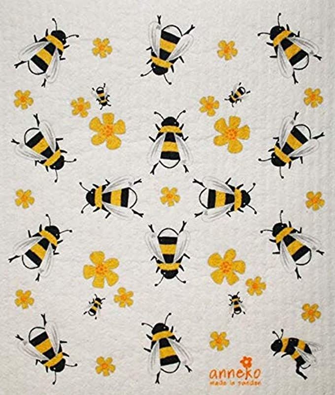 Anneko Swedish Dishcloth Sponge Cloth Yellow Black Honey Bees