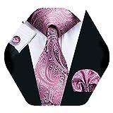 Barry.Wang Corbata de seda rosada y pañuelo de bolsillo para hombre Conjunto de corbata de Paisley con gemelos