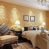 KAMIIN Papel pintado de tela no tejida de lujo, 3D Papel de Pared Diseño Barroco Impermeable Resistente a la Humedad Papel pintado para Sala de Estar Habitación Cocina Comedor Fondo de TV, 9.5 x 0.53m