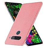 HualuBro Handyhülle für LG G8S ThinQ Hülle, Premium PU Leder Ultra Slim Stoßfest Schutzhülle Lederhülle Back Bumper Hülle Cover für LG G8S ThinQ Tasche (Rose)