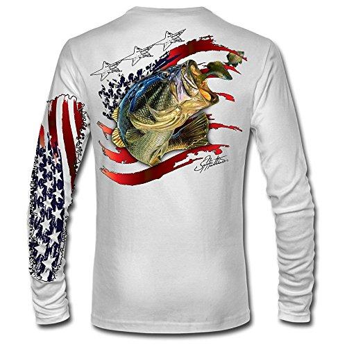 Jason Mathias American Flag Bass LS High Performance Long Sleeve T-Shirt White