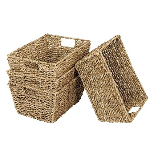Set Of 4 Seagrass Rectangular Hamper Storage Baskets With Insert Handles
