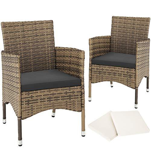 tectake 800332 Sillas de jardín de ratán sintético, Set de Asientos de polirratán para la terraza, Conjunto de sillones de Exterior de poliratán Trenzado y Estructura de Acero