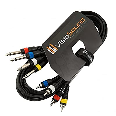 """4-Way 3m 6.35mm 1/4"""" Mono Jack to RCA Phono Loom/Effects Patch/Channel Cable"""