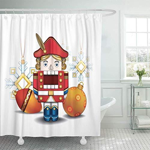 Douchegordijn rood balletje, notenkraker en kerstballen en sneeuwvlokken, leuke feestdag, waterdichte badkamer met haak douchegordijn modern thuis Hotel kleurrijk