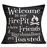 Tlovudori Retro Wood Xmas Decoration Throw Pillow Case Cotton Linen I'm Dreaming White Christmas Quote Saying with Winter Snowflake Pattern Pillow Cover Home Sofa Cushion Cover 18'x18' (MC-Fire Pit)