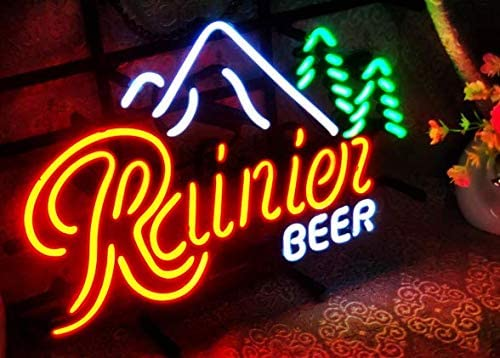 """Rainier Beer neon Light 17""""×13"""" NEW bar 3 Signs Glass Real Sign NEW before selling NEON"""