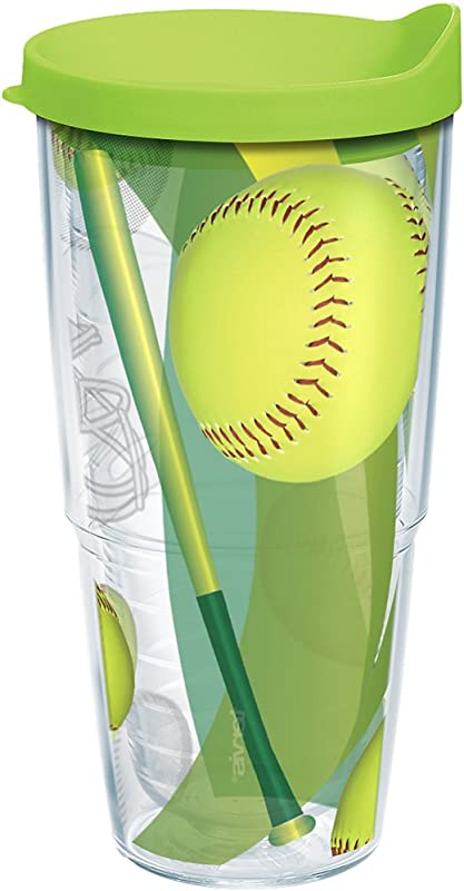 Tervis 1167421 Softballs Tumbler With Wrap And Lime Green Lid 24oz Clear