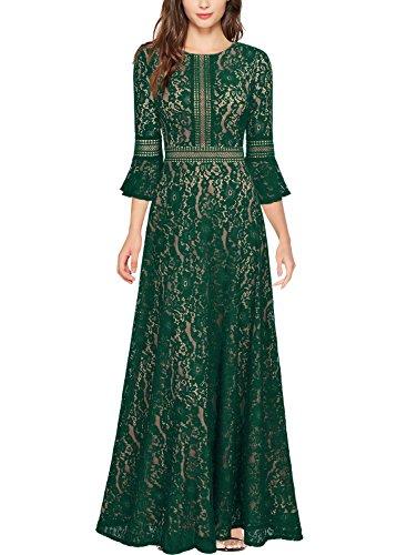 MIUSOL Damen Trompete Armel Spitzen Hochzeit Kleid Cocktail Maxi Abendkleid Grün XL