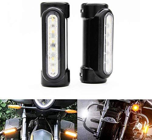 Jankr 1 para Motorrad LED Motorrad Blinker Lauflicht Fahrlicht Weiß Bernstein Wasserprüf IP67 Für Harley Davidson Touring Motorrad Modelle Blinker Crash Bars (Schwarz)