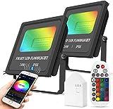 2er WLAN Bluetooth 24W Smart LED-Flutlichter, RGBW, 2700K-6500K, 2000LM, Dimmbares Farbwechsel-Bühnenlicht im Freien, IP66 wasserdicht, Arbeiten mit Alexa