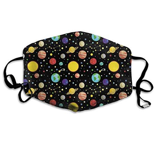 Fun-World Bequeme Winddichte Maske, Kometen und Sternbilder Sterne mit Tupfen Erde Sonne Saturn Mars Sonnensystem