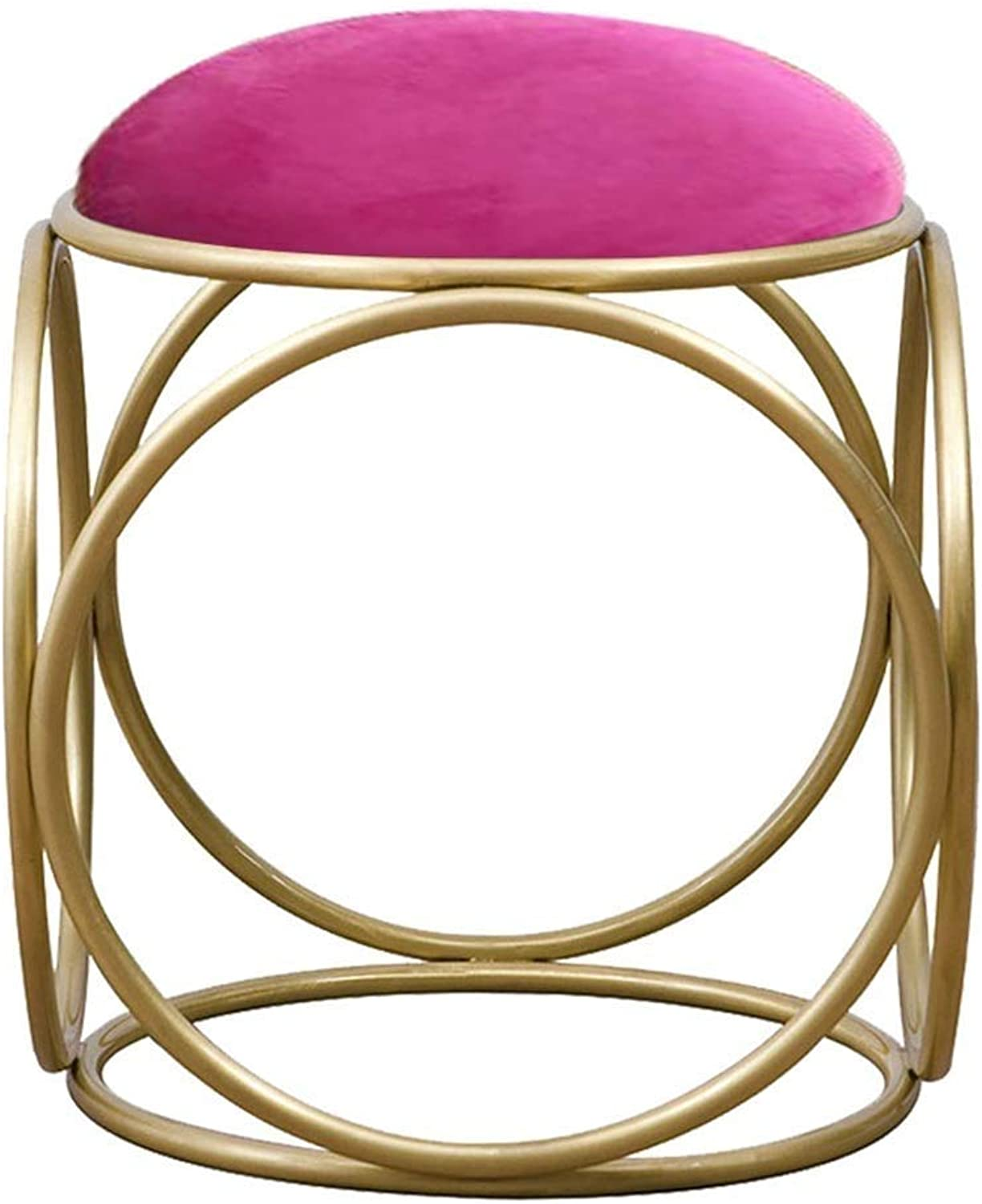 Footstool Nordic Metal Dressing Stool Simple Bedroom Living Room Round Stool, 5 colors GFMING (color   C, Size   40x40x45cm)