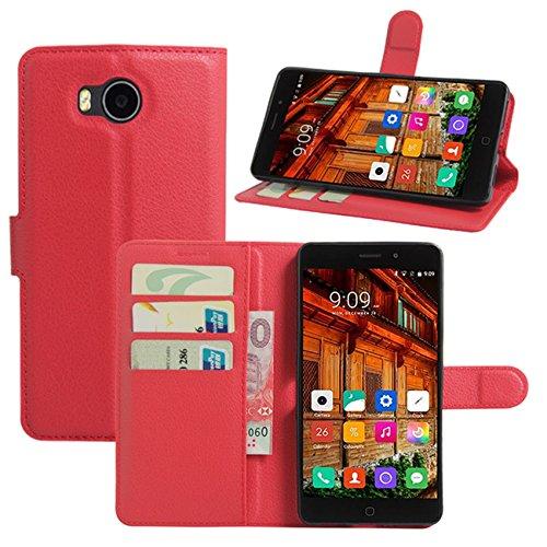 HualuBro Elephone P9000 Lite Hülle, Premium PU Leder Leather Wallet HandyHülle Tasche Schutzhülle Flip Hülle Cover mit Karten Slot für Elephone P9000 Lite Smartphone (Rot)