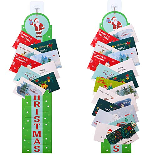 URATOT 2 Pack Traditional Paper Card Holders Christmas Card Photo on Wall or Door Display Kit with Self-adhesive Tools