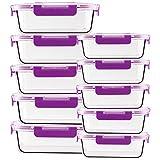CREST Juego de 10 Recipiente - Contenedor de Almacenamiento de Alimentos de Vidrio - 20 piezas (10 envases + 10 tapas) Para preparar alimentos - Sin BPA