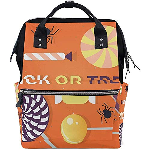 Bernart Happy Halloween Trick Or Treat Sacs à Langer Momie Fourre-Tout Sacs Grande capacité Sac à Dos Multifonctionnel pour Voyage