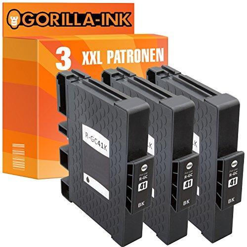 Gorilla-Ink 3 Patronen XXL kompatibel mit Ricoh GC-41 GC41 Black | Für Lanier SG3100 SNW SG3110 DN SG3110DNW SG3110 SFNW SG7100DN NRG SG 3100 Series SG 3110 DN SG 3110 DNW NRG SG-K 3100 DN