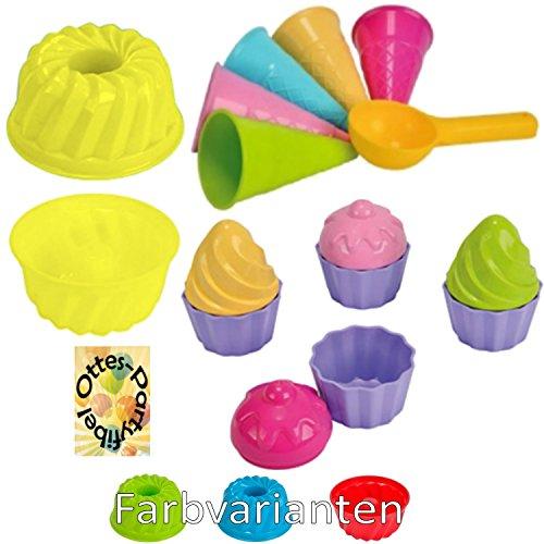 HHO Sandspielzeug: 1 Kuchen-Sandform + 5 Eistüten + 1 Portionierer + 8tlg. Cup Cake Sandförmchen Sandkasten Kindergarten