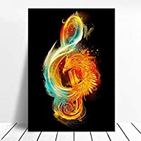 音楽生まれ変わった音楽ノートアートクリエイティブポスターキャンバス絵画リビングルーム寝室装飾絵画50x70cm(19.7x27.6インチ)フレームなし