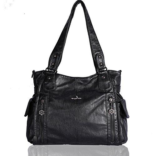 Angelkiss - borsa da donna con tracolla, in pelle lavata; con 2 chiusure a zip nella parte superiore e tasche multiple - 1193, colore: nero