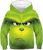 Chaos World Garçon Noël Sweat à Capuche Manche Longue 3D Impression Sweat-Shirt Pull Automne Hiver (en colère Monster,11-12 Ans)
