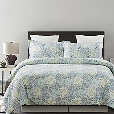 Vaulia Lightweight Microfiber Duvet Cover Sets, Paisley Pattern Design, King Size