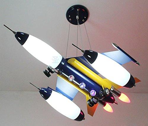 Fsd Lámpara de techo de dibujos animados para niños Aviones azul candelabros, sala infantil dormitorio luces, las luces de la habitación, los muchachos cartoon creativo, lámparas LED L63*W50*H24CM