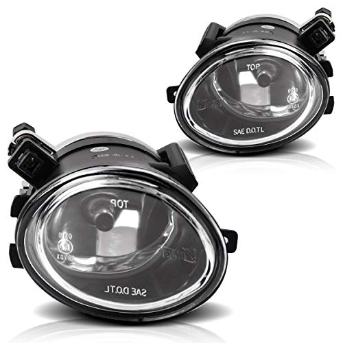 Fog Lights For BMW E46 M3 2001-2006 E39 M5 2000-2003 330I Sedan with ZHP Package 2003-2005 330CI Coupe & Convertible with ZHP Package 2004-2006 (Clear Real Glass Lens w/ 9006 12V 55W Bulbs)