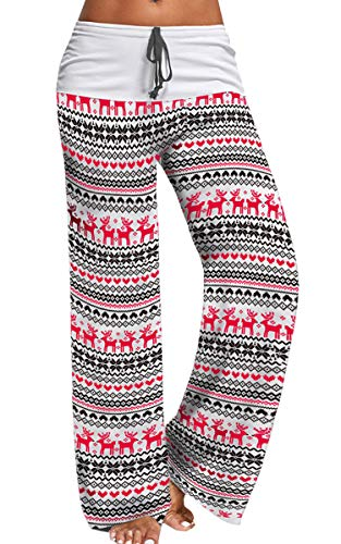 Angashion Women's Christmas Print Wide Leg Causal Pajama Pants Drawstring High Waist Palazzo Lounge Pants 224 White M