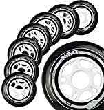 Inline Skate Wheels Hyper XTR - 8 Wheels - 85A - Size 80MM - Speed Skating, Fitness and Recreational Wheels (Black, 80MM)