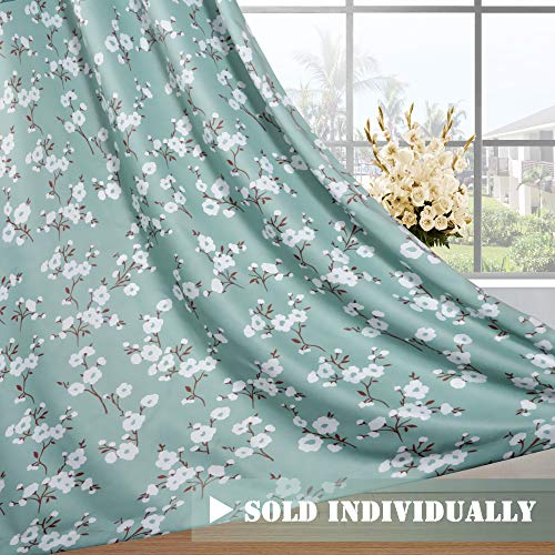 H.VERSAILTEX Ultra Soft Microfiber Living Room Curtain Noise Reducing Thermal Insulated Nickel Grommet Top Blackout Window Panel Drapes (Extra Long 1 Panel, 52 x 96 Inch, Traditional Aqua Floral)
