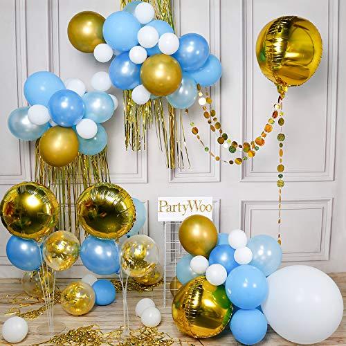 PartyWoo Blauwe En Gouden Ballonnen, Goudfolie Ballonnen, Gouden Stippen Guirlande, Goudfolie Franje Gordijn, 4D Ballon, Blauwe Ballonnen, Confetti Ballonnen Voor Blauwe En Gouden Feestdecoraties