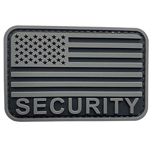uuKen Security K-9 Patch US Flag 2x3 inch with Hook Back for Service Dog Harness Tactical Vest Collar (Gray, S3