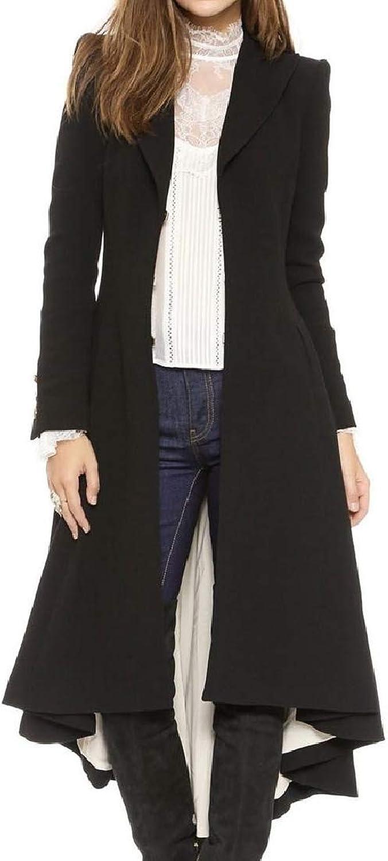 Vska Women's Swallowtail Turn Down Collar Solid Fall Winter Woolen Parka Outwear Cardigan