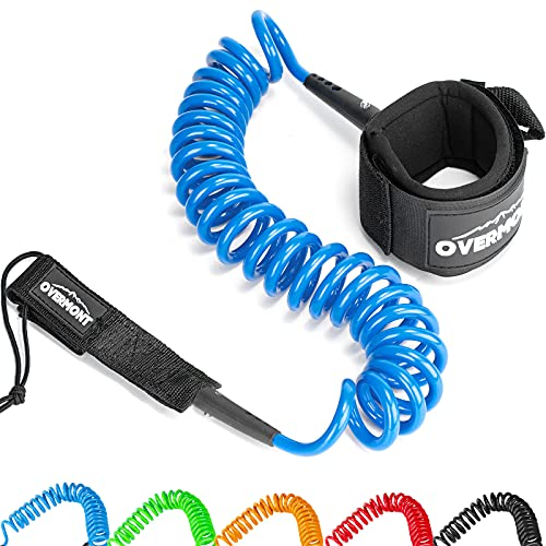 Overmont Surfboard Leash Premium Stand Up Paddle Board Leg Rope Wrist Strap Coiled 10 ft TPU Safe for Paddleboard, Shortboard, Longboard