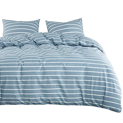 Wake In Cloud - Washed Cotton Duvet Cover Set, White Striped Pattern Printed on Grayish Blue, 100% Cotton Bedding, with Zipper Closure (3pcs, King Size)