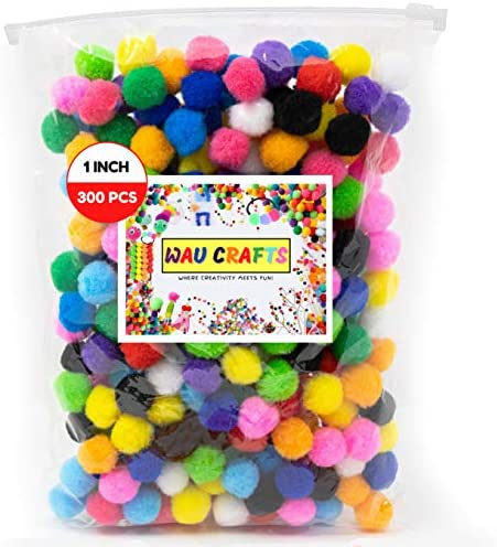 WAU Crafts 300 Pieces 1 inch Pom Pom Balls Assorted Colored Pompoms for Crafts Multicolored product image