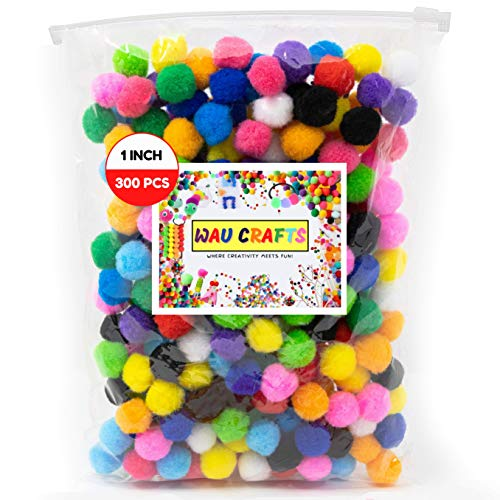 WAU Crafts Pom Poms - 1 inch 300 Pieces Assorted Multicolor Pompoms for Crafts Arts & DIY Projects