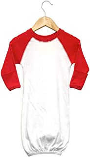 Raglan Baseball Baby Sleeping Gown with fold-Over Mittens (White/Red)