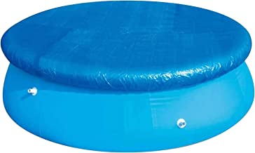 Poolabdeckung,10 ft /305cm wasserdichte runde Solarabdeckung mit Seilbindern, staubdichter, einfach zu setzender Poolschutz für aufblasbare Bodenschwimmbäder, blau