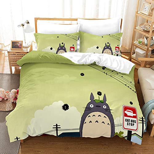 3D Duvet Covers Double Anime Lonely Totoro Microfiber Quilt Cover Bedding Set With Pillocases 78.7 X 78.7 inch 3 Pcs Bedding Set
