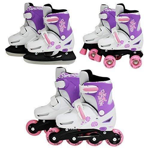 SK8 Zone Girls Pink 3in1 Roller Blades Inline Quad Skates Adjustable Size...