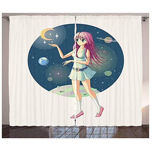 Muxiand Anime gordijnen illustratie van een meisje tegen de achtergrond van de ruimte met sterren en maan in de buurt van je hand, woonkamer, slaapkamer en raam