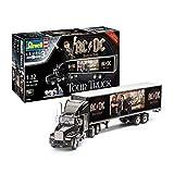 Revell RV07453 Fan-Edition, Geschenkset AC/DC Truck Rock or Bust World Tour, LKW-Bausatz 1:32, Länge 55,2 cm Fanartikel REV-07453, unlackiert -